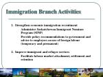 immigration branch activities