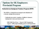 options for sk employers provincial program