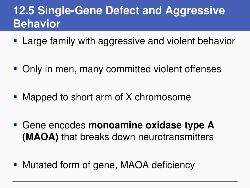 12.5 Single-Gene Defect and Aggressive Behavior
