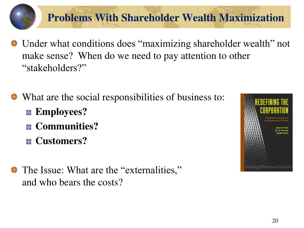 Problems With Shareholder Wealth Maximization