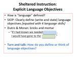 sheltered instruction explicit language objectives