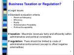 business taxation or regulation