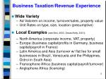 business taxation revenue experience