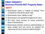 first priority business permits not property rates