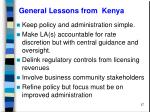 general lessons from kenya