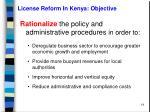 license reform in kenya objective