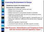 licensing environment in kenya