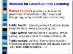 rationale for local business licensing