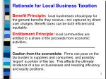 rationale for local business taxation
