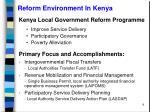reform environment in kenya