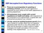 sbp decoupled from regulatory functions