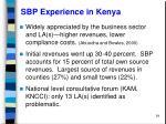 sbp experience in kenya