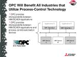 opc will benefit all industries that utilize process control technology