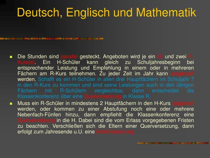 Deutsch englisch und mathematik