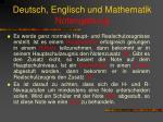 deutsch englisch und mathematik notengebung