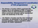 responsibility management coordination of ria programmes