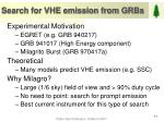 search for vhe emission from grbs