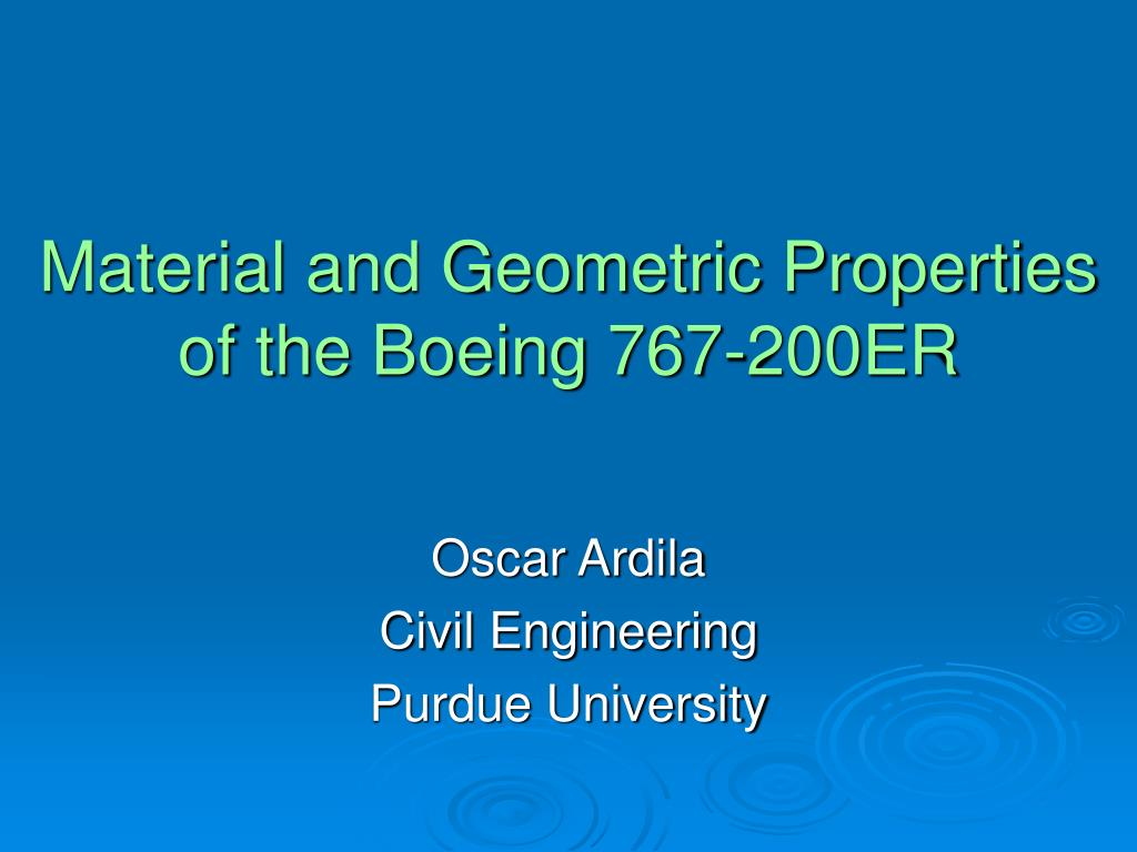 material and geometric properties of the boeing 767 200er l.