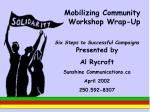 mobilizing community workshop wrap up