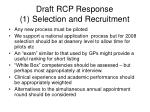 draft rcp response 1 selection and recruitment