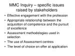 mmc inquiry specific issues raised by stakeholders