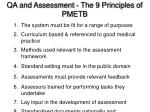 qa and assessment the 9 principles of pmetb