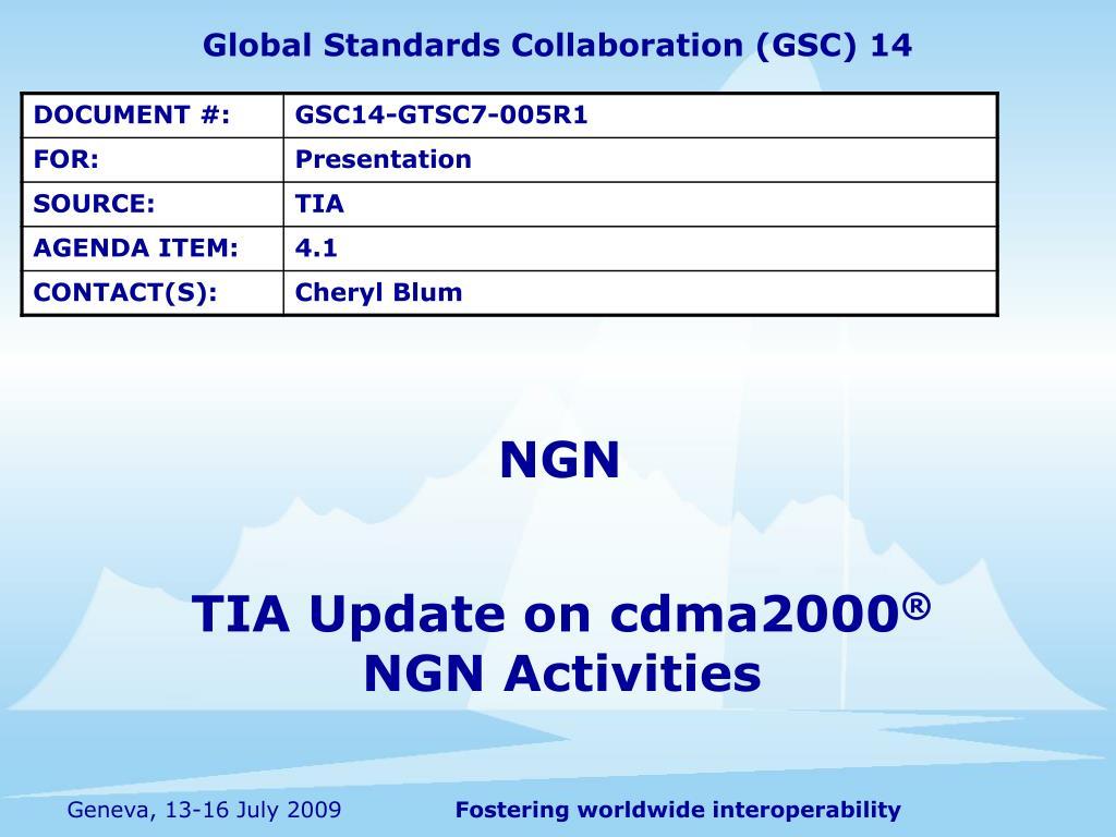 tia update on cdma2000 ngn activities l.