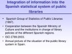 integration of information into the spanish statistical system of public libraries