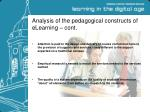 analysis of the pedagogical constructs of elearning cont