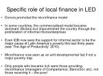 specific role of local finance in led