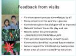 feedback from visits