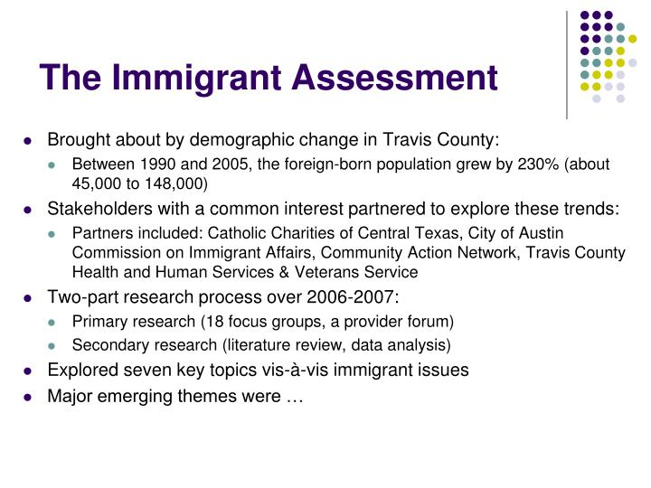 The Immigrant Assessment