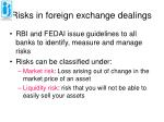 risks in foreign exchange dealings