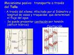 mecanismo pasivo transporte a trav s del tallo