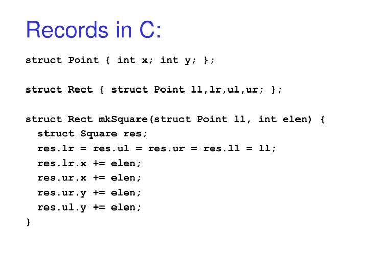 Records in c