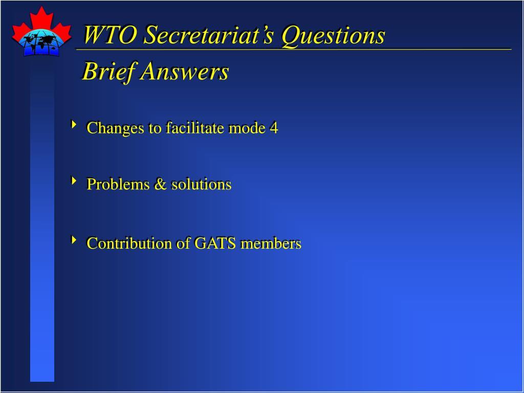 WTO Secretariat's Questions