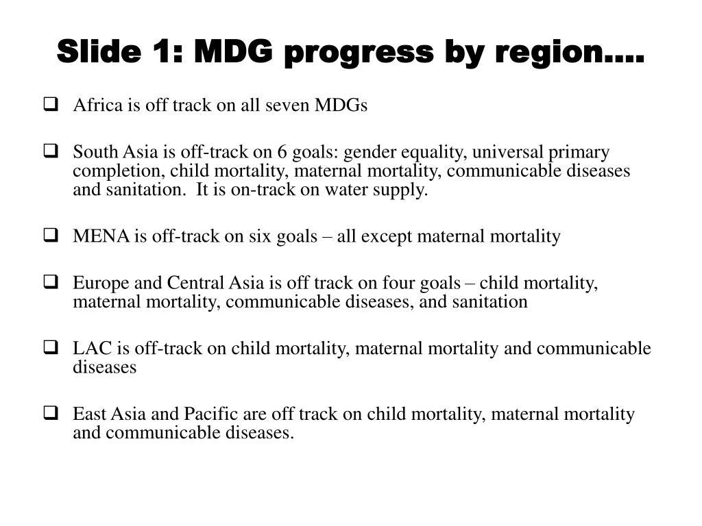 slide 1 mdg progress by region l.