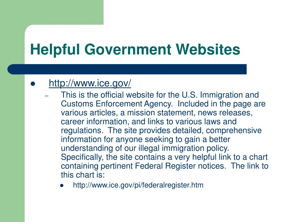 Helpful Government Websites