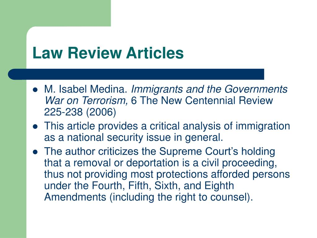 Law Review Articles