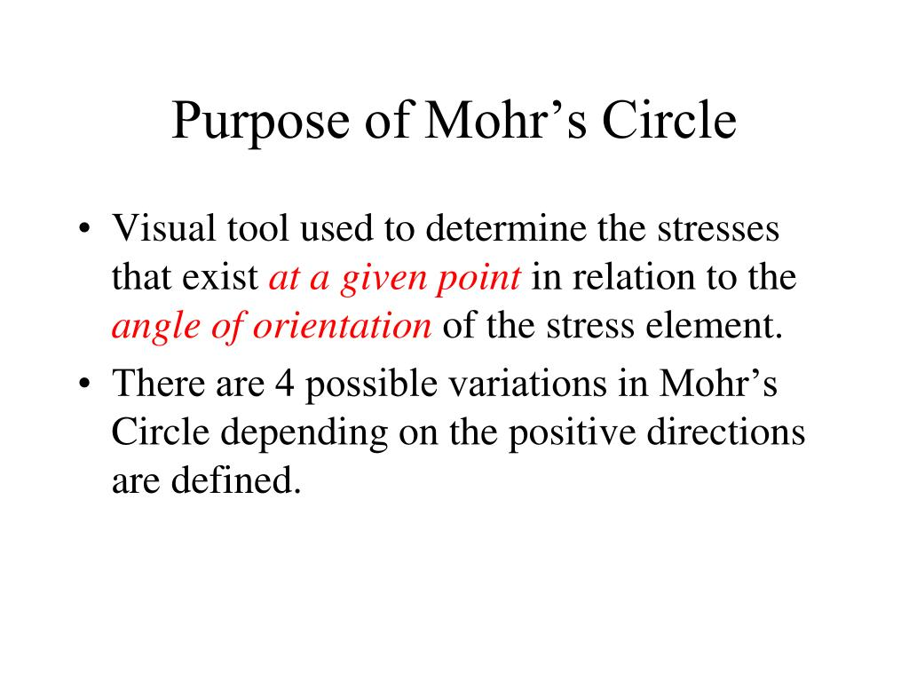 purpose of mohr s circle l.