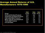 average annual returns of u s manufacturers 1970 1990