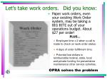 let s take work orders