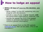 how to lodge an appeal