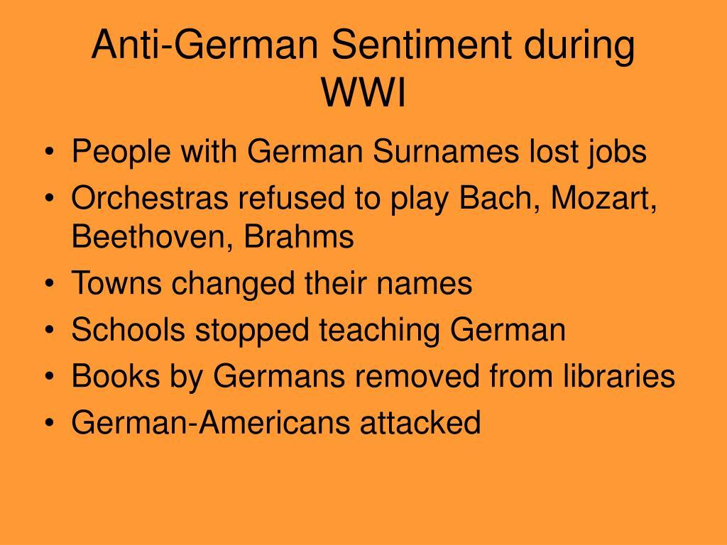 Anti-German Sentiment during WWI