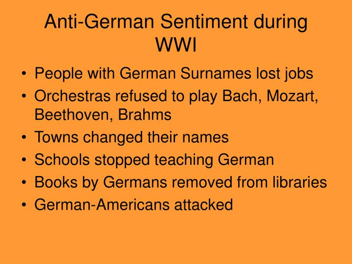 Anti german sentiment during wwi