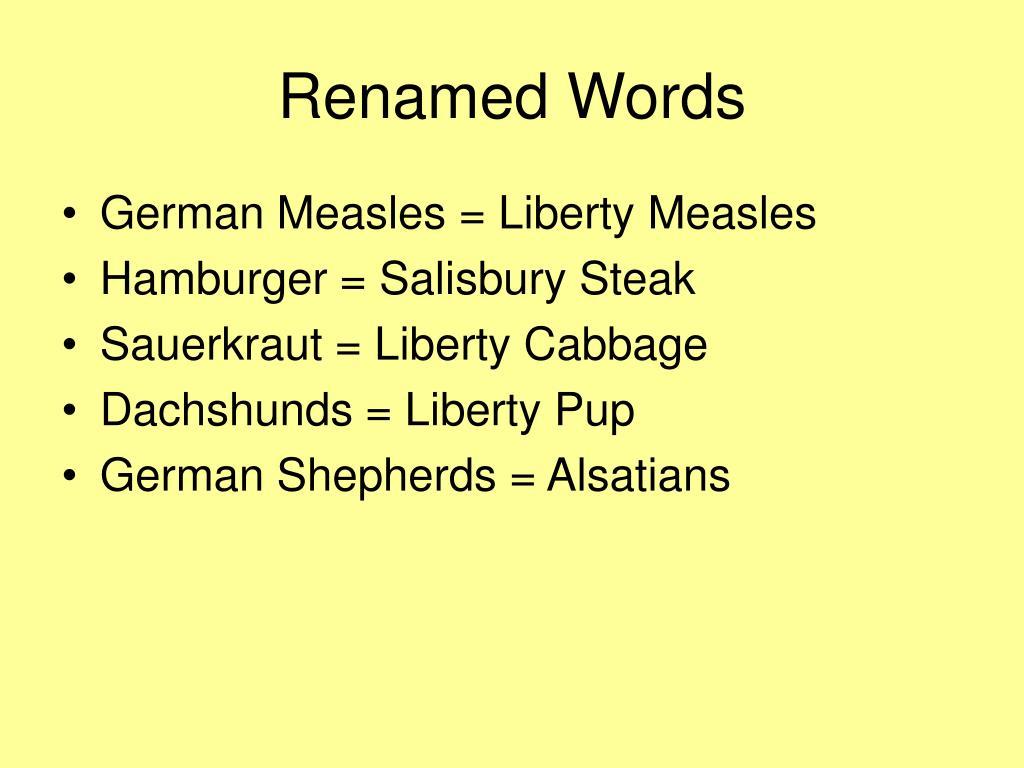 Renamed Words