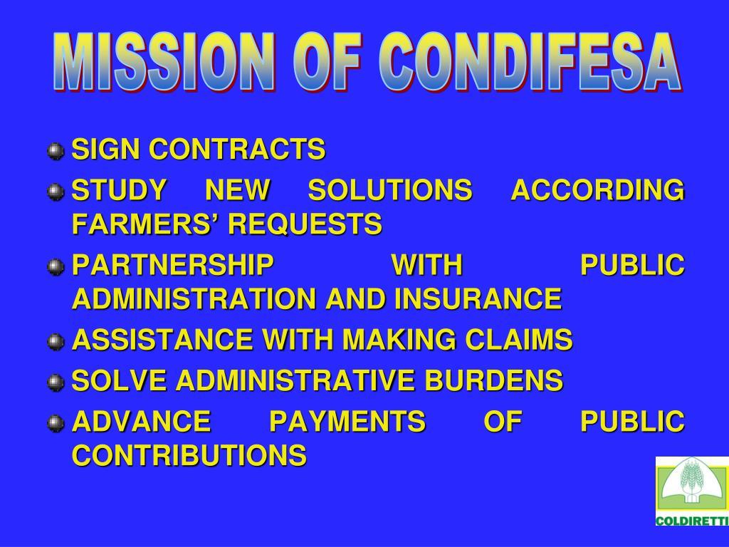 MISSION OF CONDIFESA