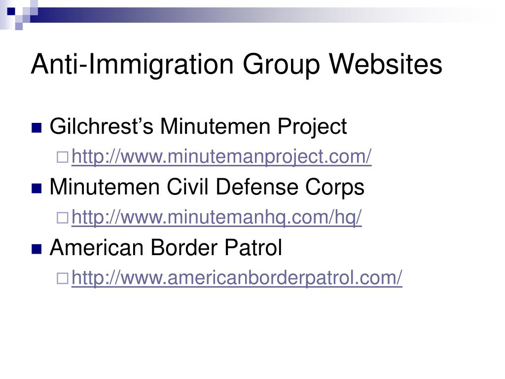 Anti-Immigration Group Websites