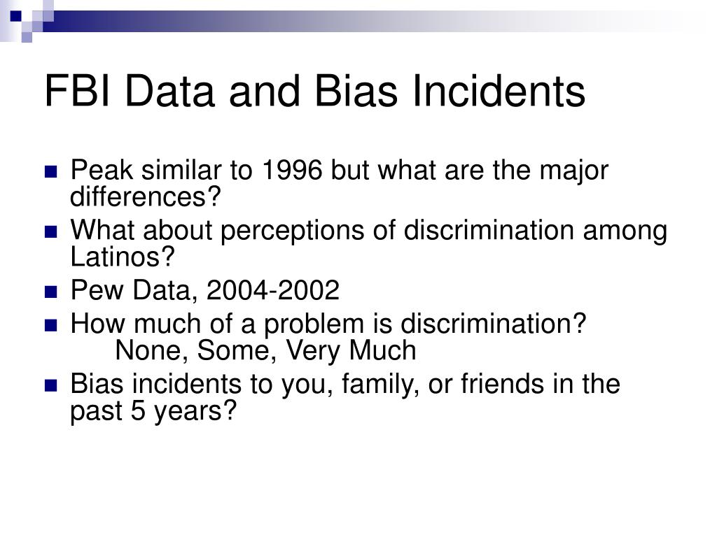 FBI Data and Bias Incidents