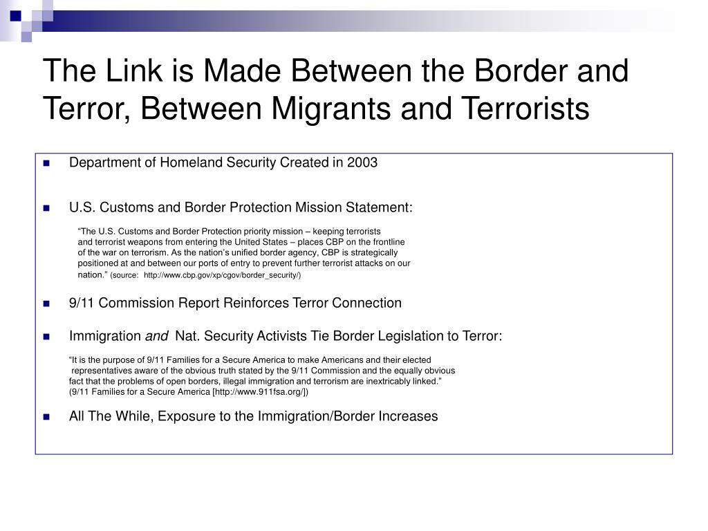 The Link is Made Between the Border and Terror, Between Migrants and Terrorists